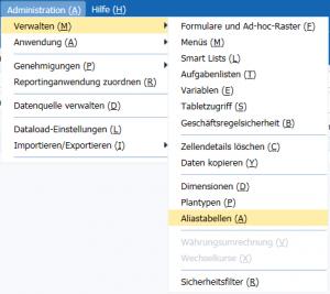 Unter Administration > Verwalten gibt es die Option Aliastabellen.