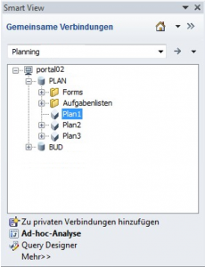 Smart View Verbindung mit Planning