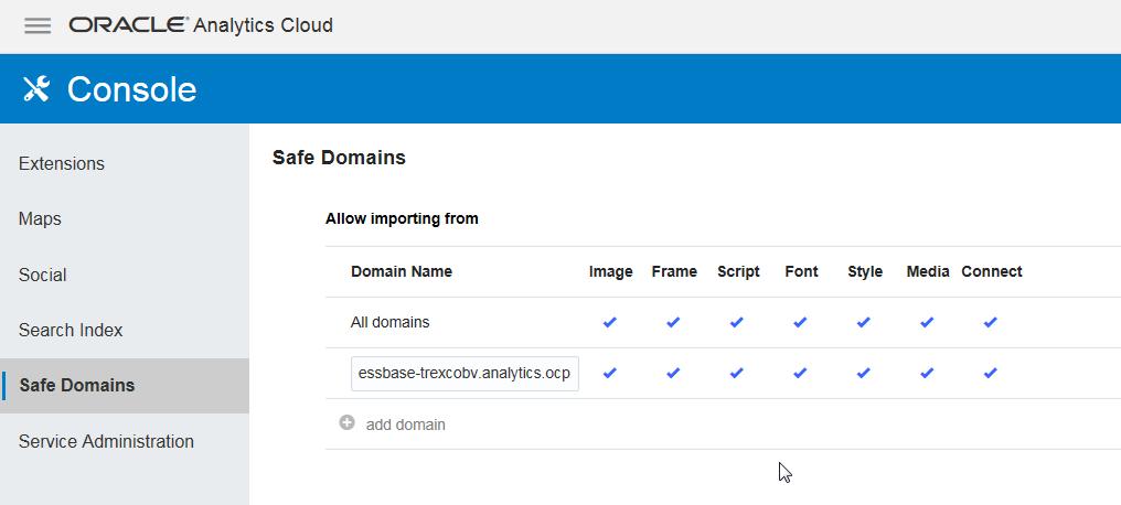 Eintragen der Verbindung in die Domains