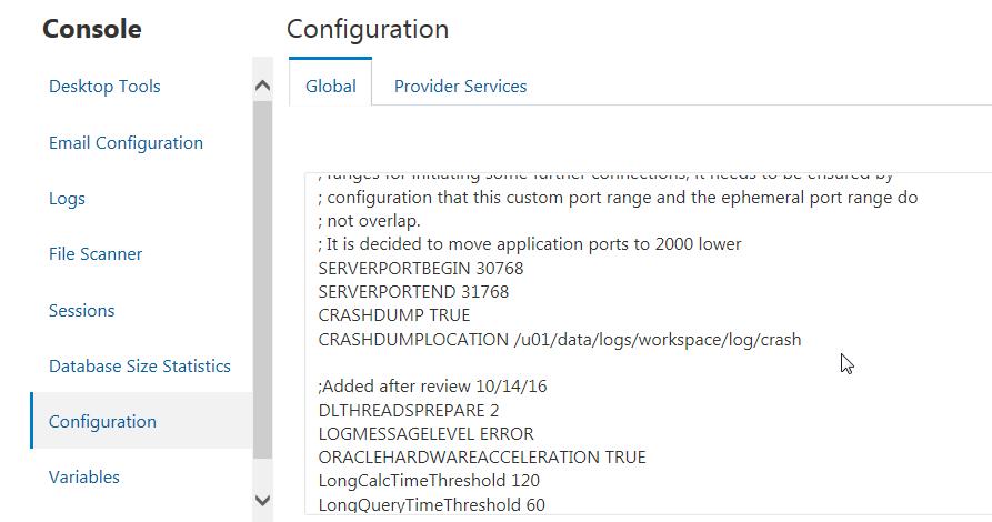 Unterpunkt Configuration mit dem Inhalt der Essbase.cfg Datei