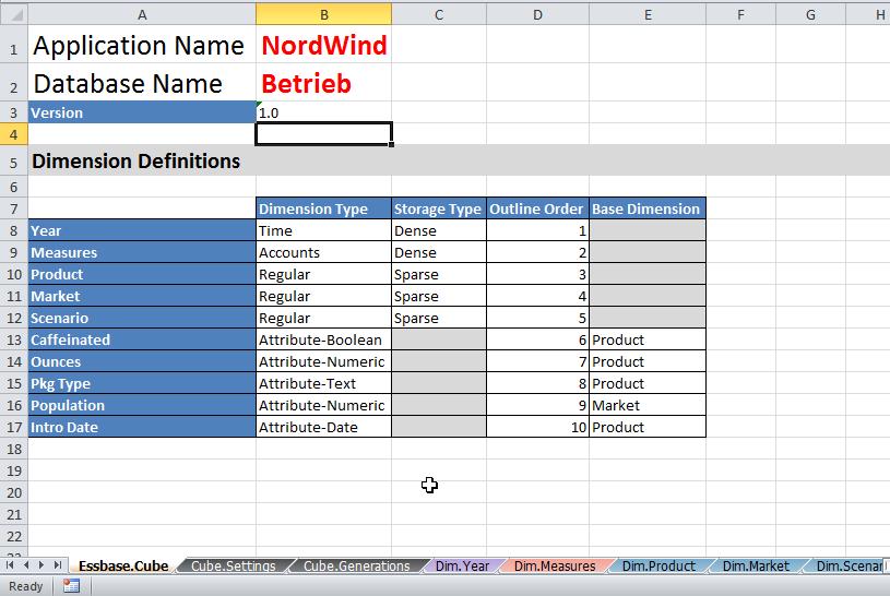Essbase Anwendung erstellen mit Excel Arbeitsbuch