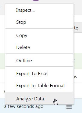 Analyze Data direkt aus dem Admin Tool heraus.