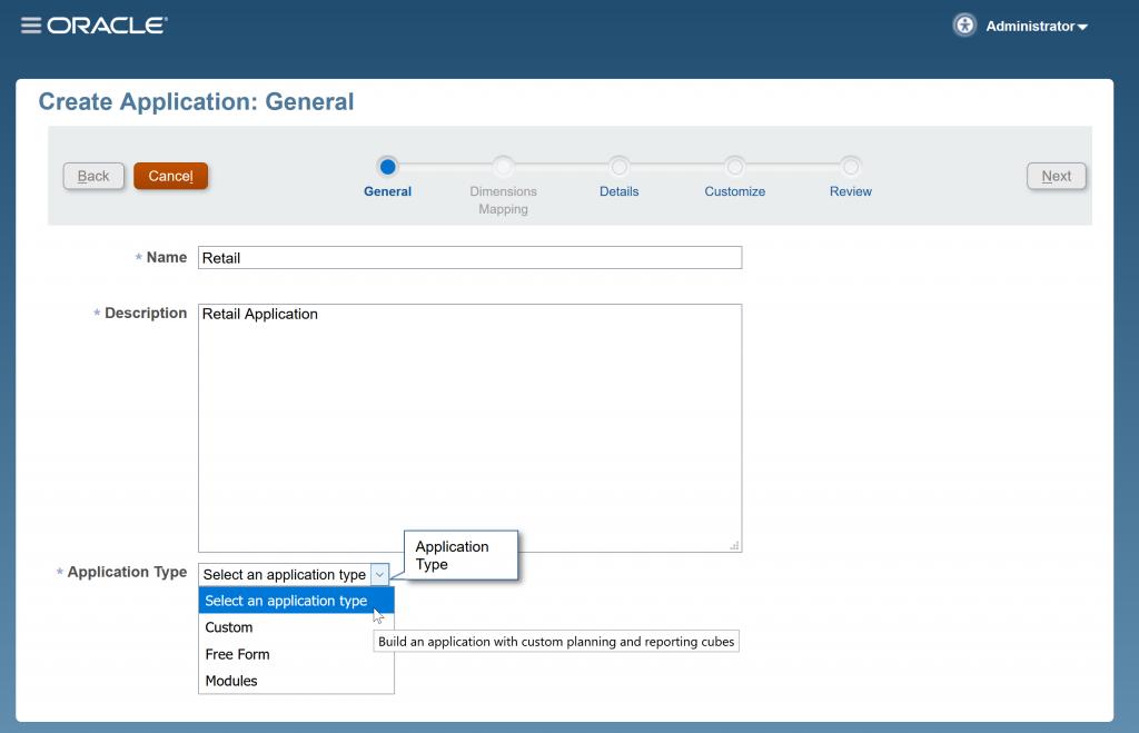 Auswahl von Free Form Applikationstyp.