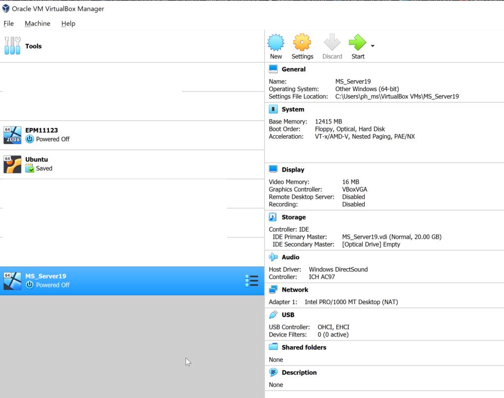Die anfängliche Konfiguration der VM (etwas zu klein).