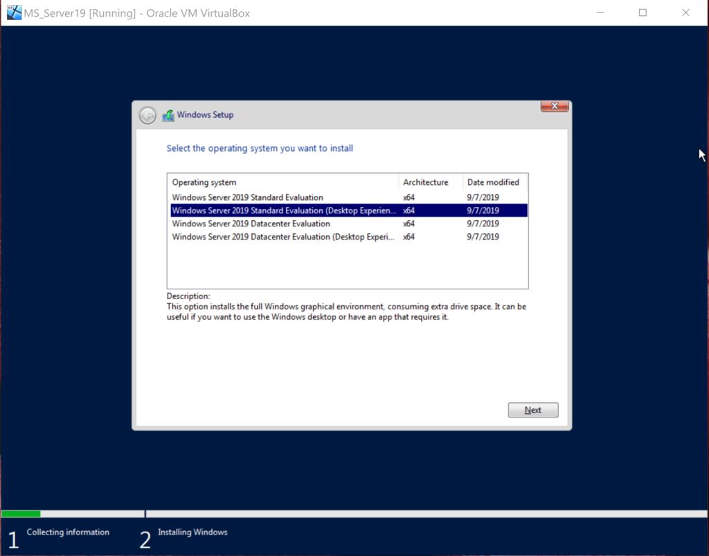 Installation von Standard Version mit Desktop