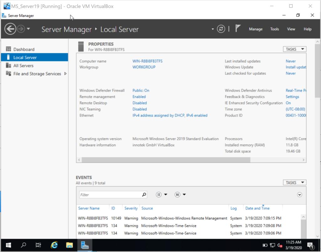 MS Server 19 Standard auf der Oracle VM