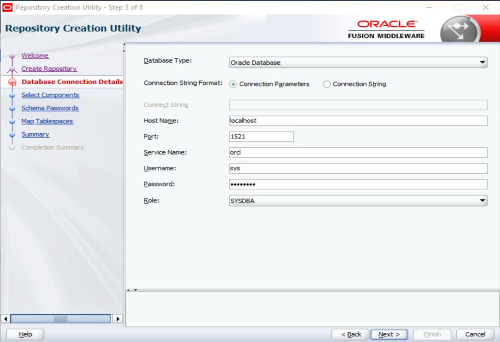 Verbindung mit der Oracle Datenbank legen.