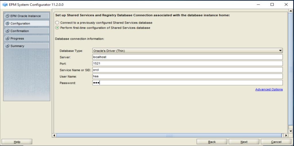 Verbindungsparameter mit dem Repository.