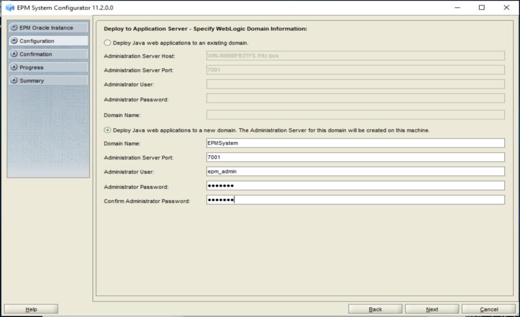 Deployment von dem Java Web Application Server in dem Domain EPMSystem.