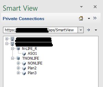 Und hier auch die Essbase Verbindung auf die ASO Anwendung.